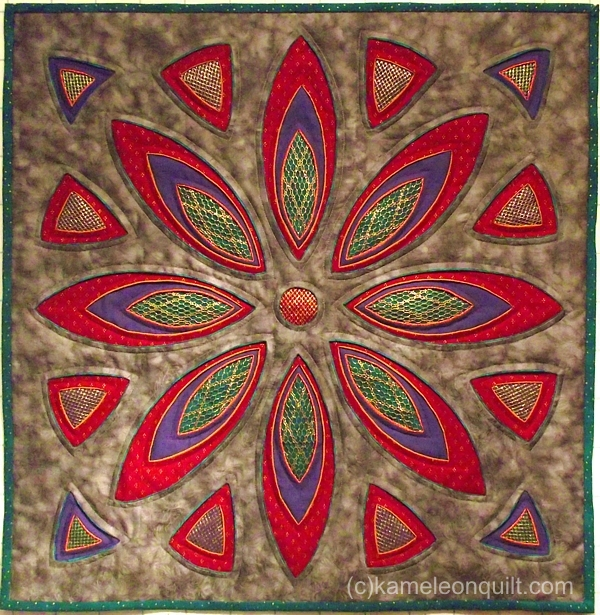 Rose window three dimesional quilt