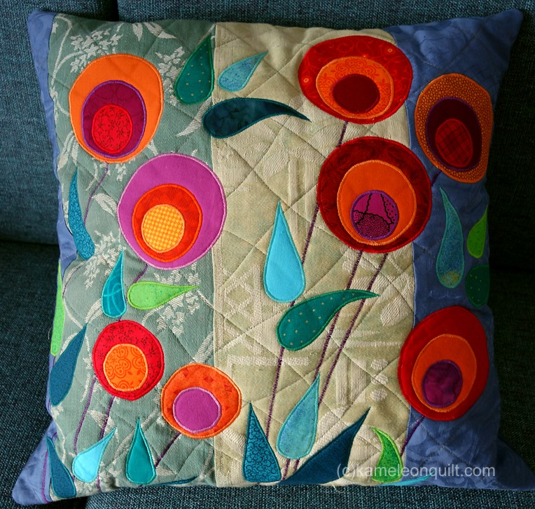 pillow with stylized flowers