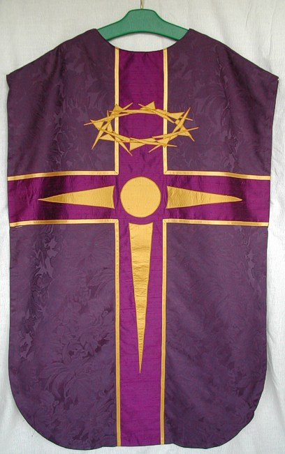 purple chasuble back view
