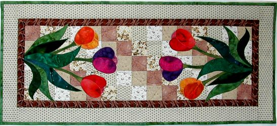 patchwork table runner with applique tulips
