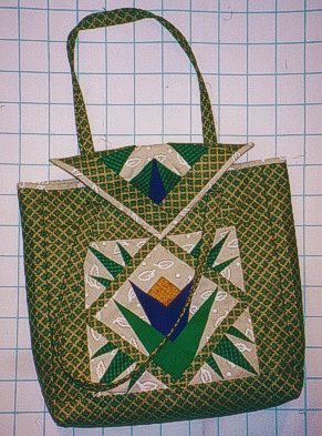 bag made with blocks in fabric folding technique